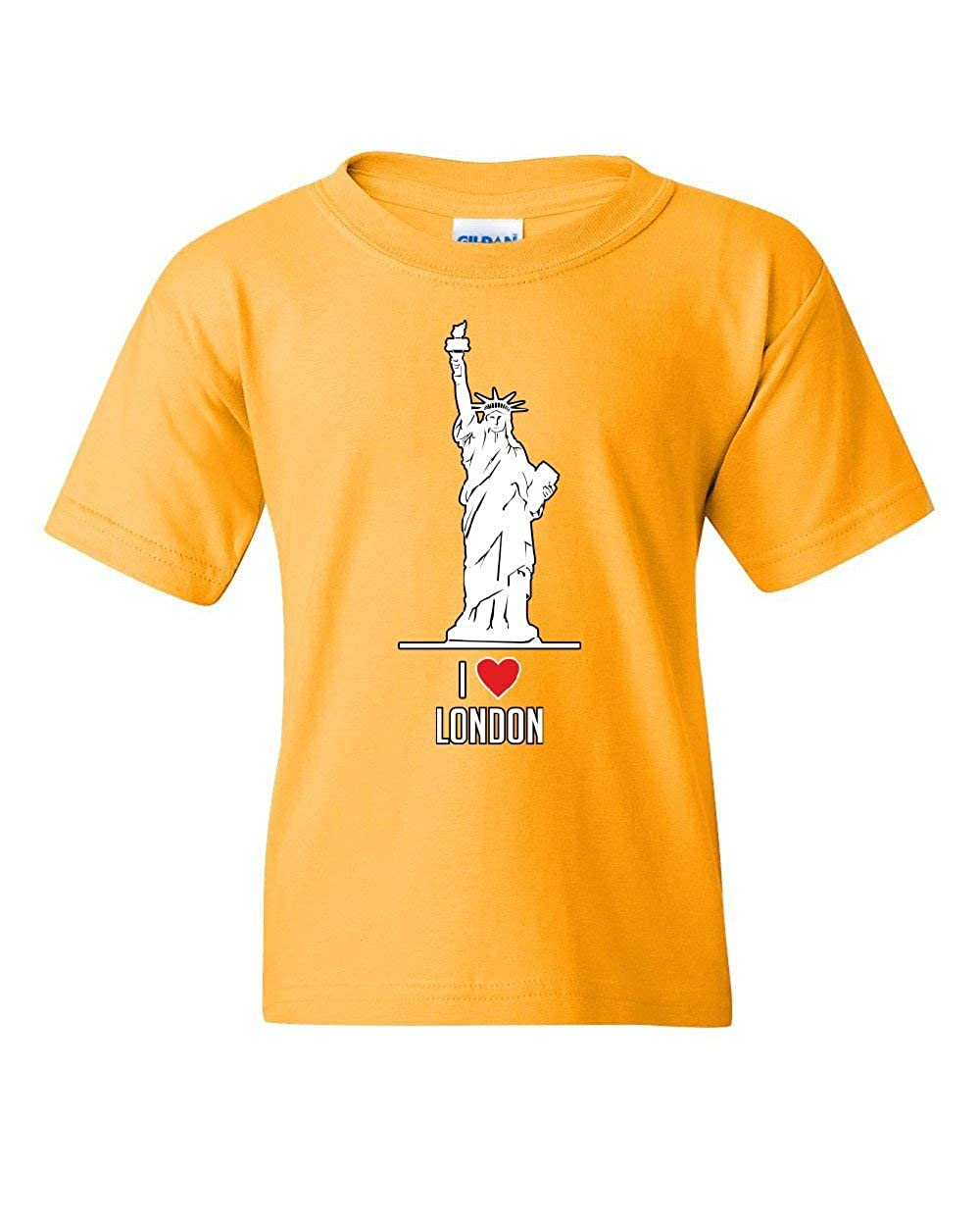 I Love London Youth T-Shirt Funny New York Statue of Liberty Tourist Kids Tee