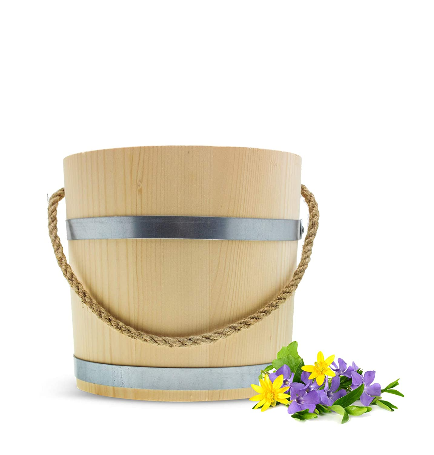 Large Wooden Bucket 15L Water Handmade Wooden Bucket Plant Pot 30 cm Rope Sendez