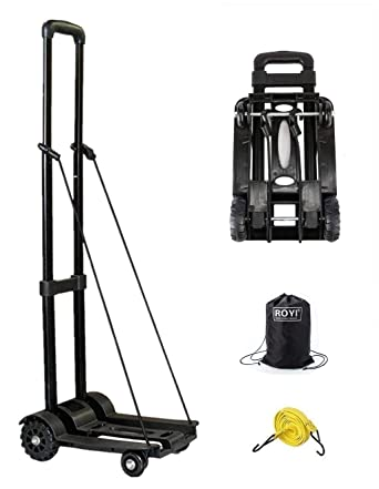 0f9773c7be6e Folding Hand Truck with Strong Load Capacity Hold Up Luggage Shopping  Trolley Carts with Extendable Handle Flexible Bungee for Moving Heavy Items