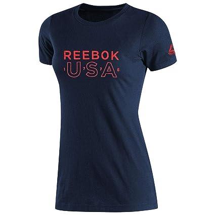 b8908e22 Amazon.com: Reebok Women's Crossfit USA Logo T-Shirt (Navy Blue) BI0763:  Sports & Outdoors