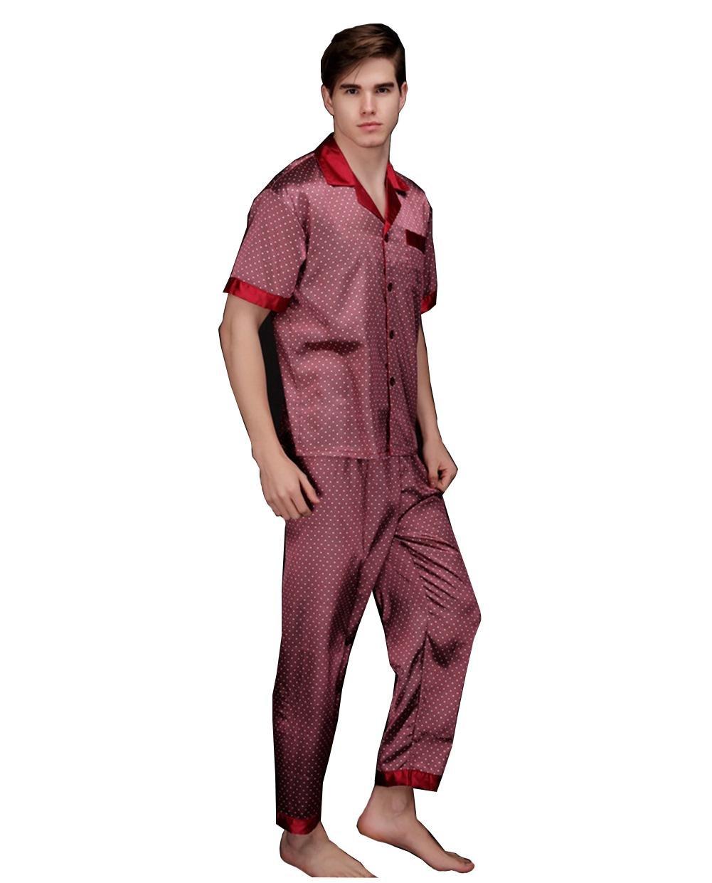 de los hombres Conjuntos de pijama Primavera y otoño Suit Collar Long Sleeves + Trousers Ropa de dormir Hombres Moda Ropa de casa Seda lujo Baños Sauna ropa ...
