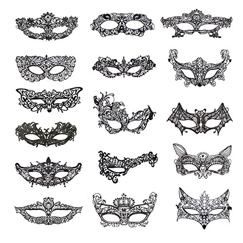 Coobey 16 Pieces Lace Masquerade Mask Venetian Halloween Costume Sexy Woman Mask for Halloween Masquerade Party, Black -