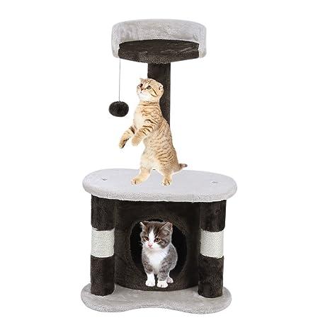 Sweepid Rascador Gato gato Muebles gato – Estantería para gatos Árbol de escalada Altura 65 cm