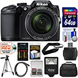 Nikon Coolpix B500 Wi-Fi Digital Camera (Black) 64GB Card + Case + Flash + Batteries & Charger + Tripod + Strap + Kit