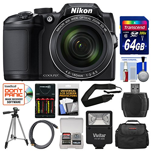 Charger Black Case Lcd (Nikon Coolpix B500 Wi-Fi Digital Camera (Black) with 64GB Card + Case + Flash + Batteries & Charger + Tripod + Strap + Kit)