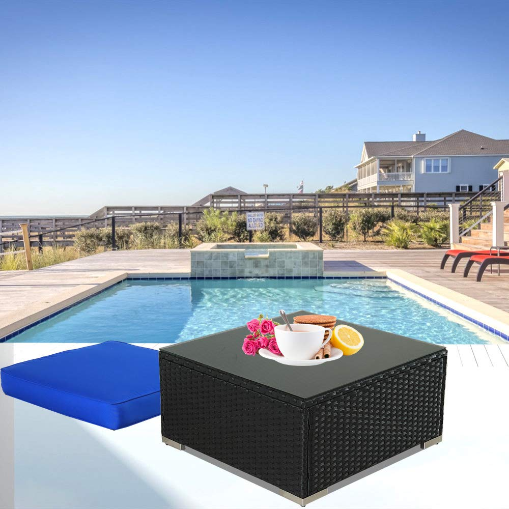 Patio Furniture Black Wicker Coffee Table w/Tempered Glass w/Extra Royal Blue Cushion Can be Used As Ottoman by Leaptime