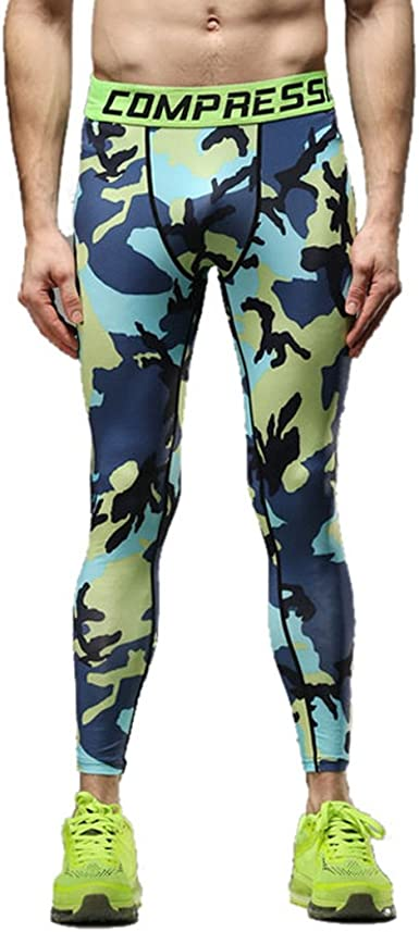 Men Camo Printed Tight Leggings Compression Pants Gym Sport Training Trousers