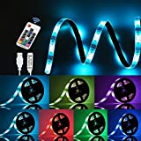 LED Strip Lights,GLIME TV Backlight Kit Colorful Light Bar Remote Control Lighting Kit 5050 RGB Backlight Strip Bedroom Bar Club Home Kitchen Party Decorate Lamp 200cm Flexible Waterproof Ribbon Light