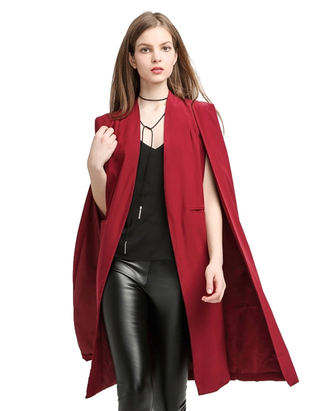 L E M O N Richlulu Women Lightweight Open Front Cloak Cape Trench Coat Longline Blazer