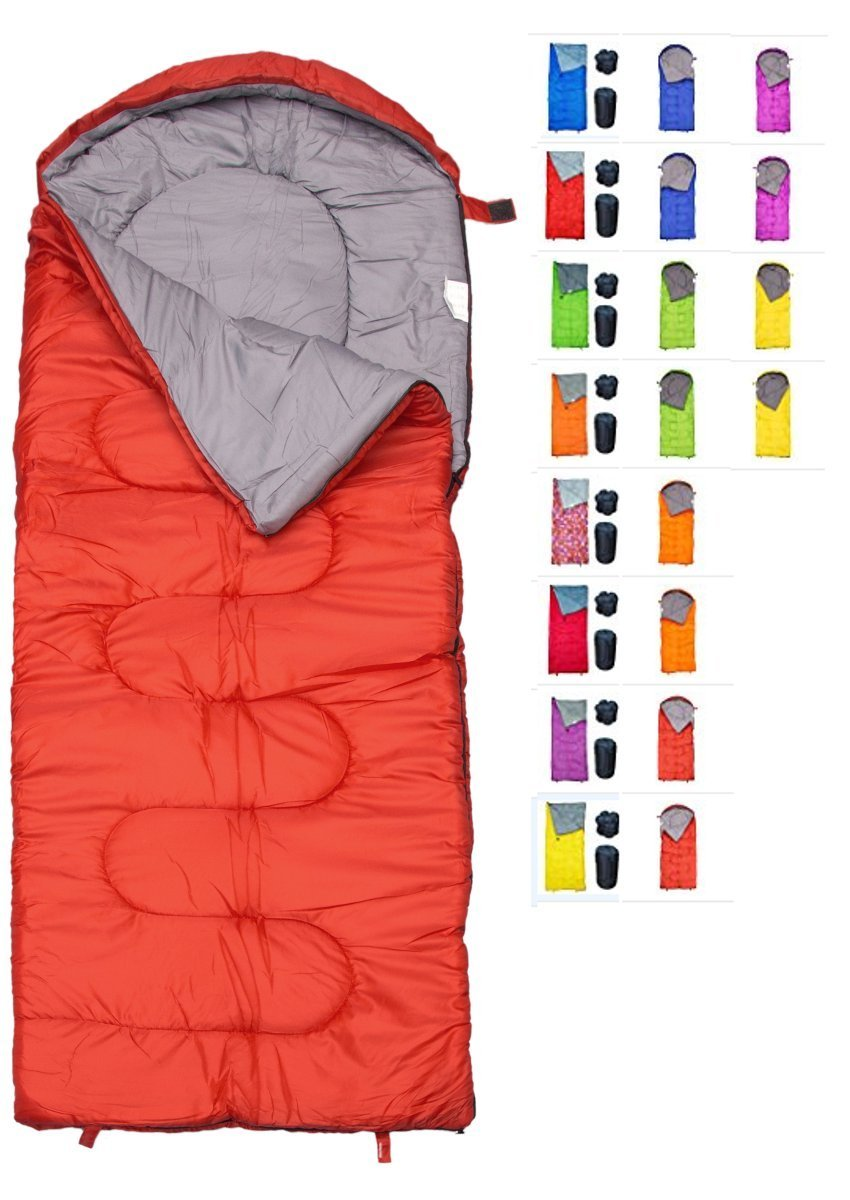 REVALCAMP Sleeping Bag for Cold Weather - 4 Season Envelope Shape Bags by Great for Kids, Teens & Adults. Warm and Lightweight - Perfect for Hiking, Backpacking & Camping (Red - Envelope Left Zip) by REVALCAMP