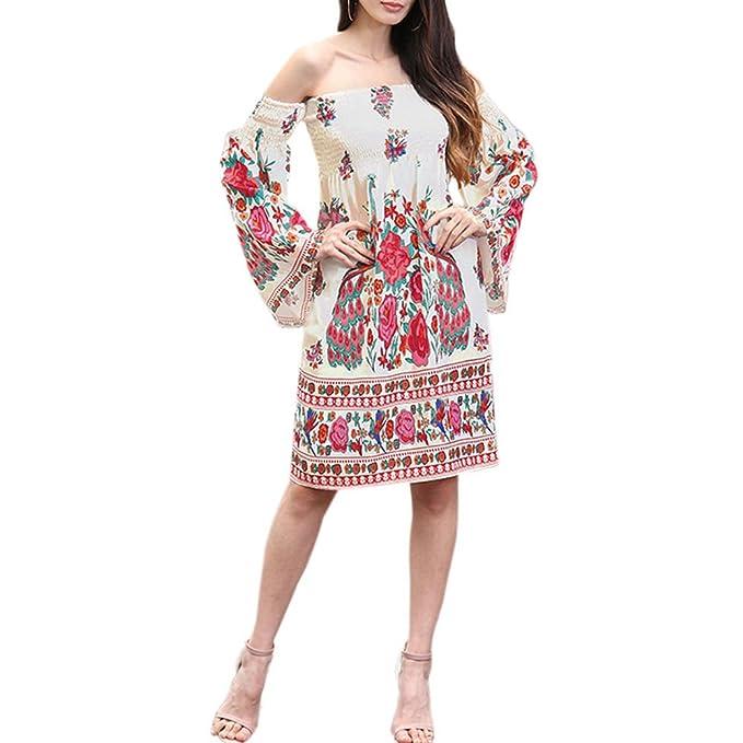 Hzjundasi Mujer Sin tirantes Midi Vestido Trompeta Mangas Floral Impresión Chiffon Vestidos Playa Fiesta Midi Sundress