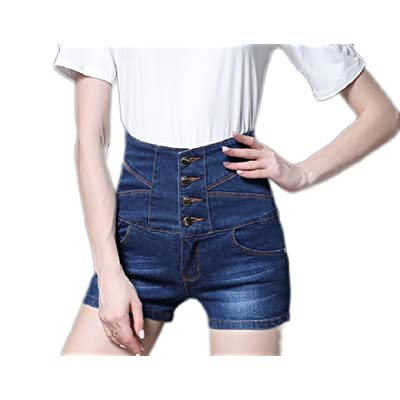 Abetteric Women Denim Plus-Size Stretchy 1 Button High Waisted Classic Shorts Jeans
