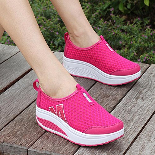 Clearance Shoes Sale Fashion Breathable Pink Swing vermers Loafers Women's Mesh Shoes Women Platform Air Hot Wedges HAqaHdn