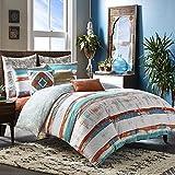 3pc Orange Blue Paint Stroke Duvet Cover Queen Set, Artistic Bedding White Siesta Southwest Tribal Stripes Art Themed Watercolor Design Abtract Teal, Cotton