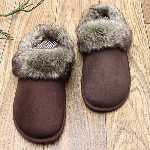 Linings Comfy Warm Sole SOLOSMART Slip Thickly Cashmere Anti Fur Women's Knit Faux Slippers Soft Brown Padded xgCCTzwq