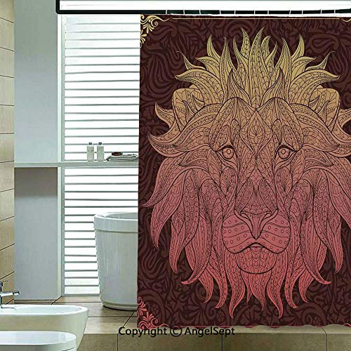 Shower Curtain with Hooks,Patterned-Ornate-Lion-Head-with-Digital-Featuring-Totem-Asian-Zoo-Wild-Boho-Home-Decor,72x78.7inch,for Any Bathtub,Yellow-Maroon ()