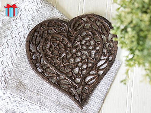 Cast Iron Heart Trivet - Decorative Cast Iron Trivet For Kitchen Or Dining Table - Vintage, Rusted Design -...