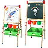 Tomons Kids Wooden Art Easels for Kids, 3-in-1 Chalkboard/Whiteboard/Paper Roll Easel for Boys and Grils Age 3+