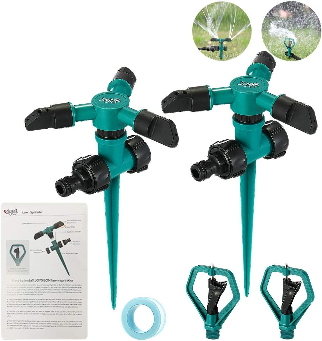 JOYXEON Lawn Sprinkler (Set of 2) 360 Degree Automatically Rotating Sprinklers for Garden with 2 pcs Butterfly Rotary Sprinklers Rotating Irrigation System for Garden Yard Kids 3,000 Sq. Ft Coverage