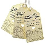 Summer-Ray 50pcs Personalized Mini Royale Ivory/Cream Wedding Favor Gift Tags Thank You for Sharing Our Special Day with Lace Print