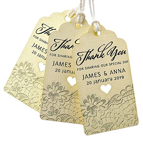Summer-Ray 50pcs Personalized Mini Royale Ivory/Cream Wedding Favor Gift Tags Thank You for Sharing Our Special Day with Lace Print -
