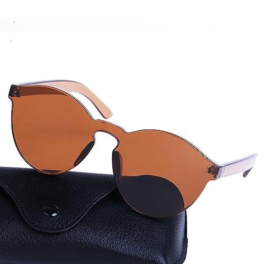 980476b475 Amazon.com  Rimless Transparent Candy Color Vintage Round Sunglasses ...