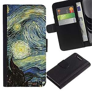 KingStore / Leather Etui en cuir / Sony Xperia Z1 Compact D5503 / Gogh Noche estrellada famosa pintura del artista