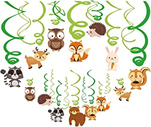 Kristin Paradise 30Ct Woodland Animals Hanging Swirl Decorations, Forest Friends Birthday Party Supplies for Boy/Girl/Kids, Baby Shower Woodland Creatures Theme Decor, 1st First Bday Favors