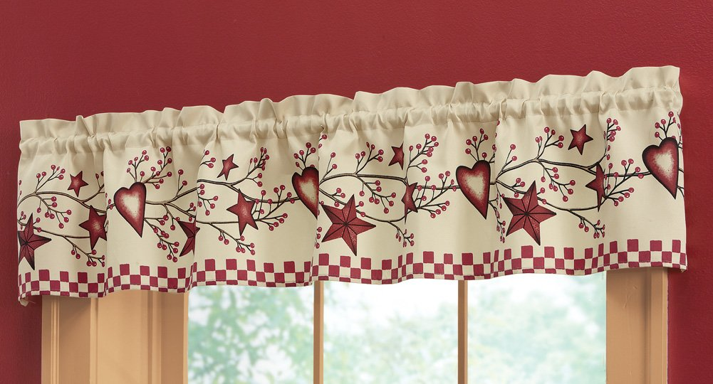 Collections Etc Country Heart Checkered Rod Pocket Window Valance, Red by Collections Etc (Image #3)