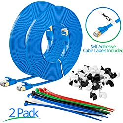 Maximm Cat7 Flat Ethernet Cable - 20 Ft. - Blue - 2 Pack - RJ45 Gold-plated Connectors. 600 MHz, For Computers Network Components - Includes Cable Ties, Labels and Clips