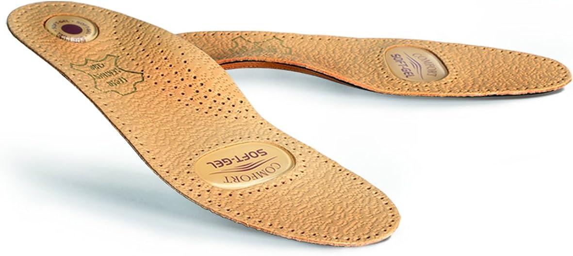 Kaps Plantillas de Cuero Ortopédicas Premium para Calzado, con Soporte para El Arco y Almohadilla de Gel, para Hombres Y Mujeres, Relax Gel, Tamaños