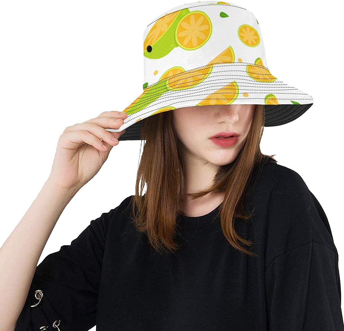 Yellow Lemon Pattern Dacoration Summer Unisex Fishing Sun Top Bucket Hats for Kid Teens Women and Men with Packable Fisherman Cap for Outdoor Baseball Sport Picnic