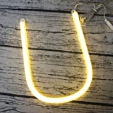 LEDIARY LED Neon Tube Letter Sign Night Light Wall Decoration For Living Rom Home Hotel Bar Chrismas, Battery USB Powered - U