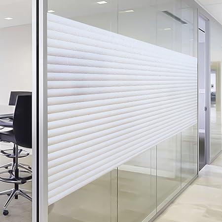 Rabbitgoo Static Window Film Bathroom Blinds Stripe Privacy Film Opaque No  Glue Anti UV 44.5CM