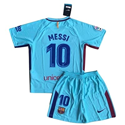 TrendsNow New 2017-2018 Messi #10 Barcelona Away Jersey & Shorts For Kids and Youths