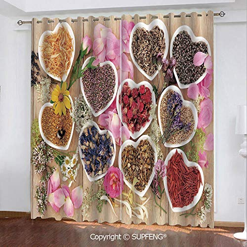 - FashSam Printed Curtain Healing Herbs Heart Shaped Bowls Flower Petals on Wooden Planks Print Healthcare Decorativ (2 Panels Measures: 55W x 45L Inch) Privacy Excellent Touch Environmentally Friendly