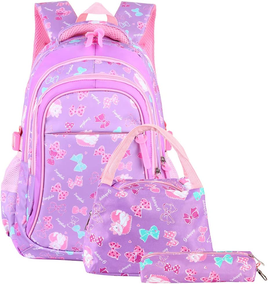 VBG VBIGER School Bags School Backpack Polka Dot 3pcs Kids Book Bag Lunch Bags Purse Girls Teen (Purple-pink)