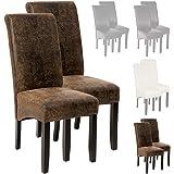 TecTake Set 2x design sedia per sala cucina da pranzo sedie altezza 105cm - disponibile in diversi colori - (Scamosciata look)
