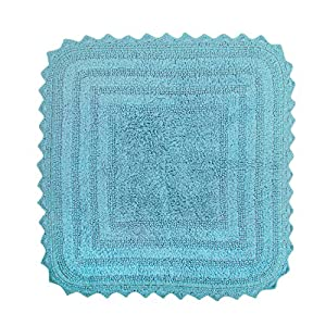 "DII Ultra Soft Spa Cotton Crotchet Sqaure Bath Mat Place in Front of Shower, Vanity, Bath Tub, Sink, and Toilet, 28"" - Cameo Blue"