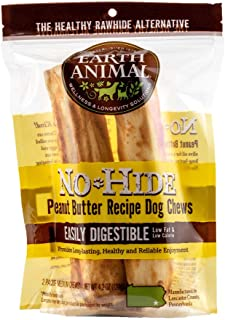 product image for Earth Animal No-Hide Peanut Butter Medium Natural Rawhide Alternative Dog Chews, 2-Count