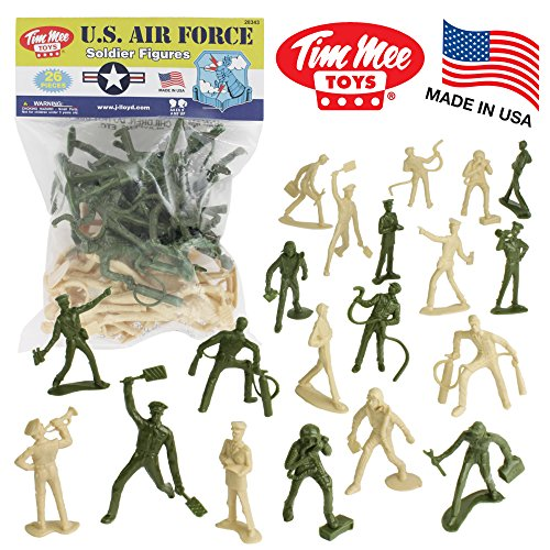 TimMee AIR FORCE Plastic Army Men - 26pc Green Tan Toy Soldier Figures US Made ()