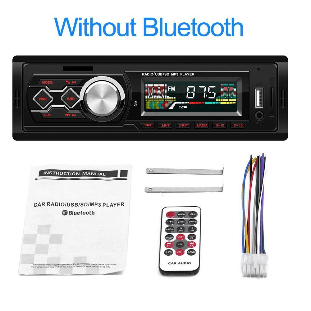 sprintrase Radio de Coche Autoradio Bluetooth Manos Libres Radio Estéreo de Coche Apoyo de Reproductor MP3 con Control Remoto, Función de USB, SD
