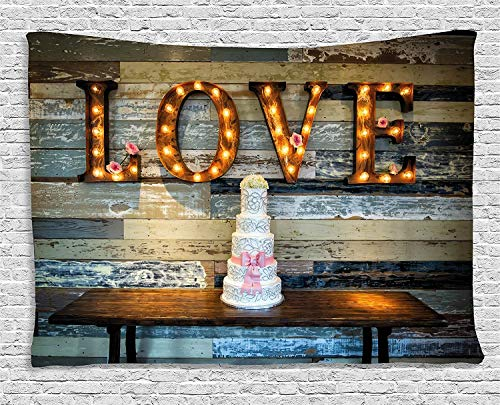 Bnialaed Wedding Decorations Tapestry Wedding Cake wtih The Word Love as Sinage on Wooden Background Print 60 W X 50 L in Unique Wall Tapestry for Living Room Bedroom -