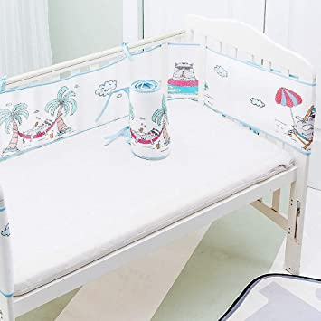 Redsa Baby Cot Bumper Wrap Around Protection Breathable Sandwich Mesh Liner Cradle Quilt Set for Babys Bed Breathable Universal Crib Guardrail Wrap