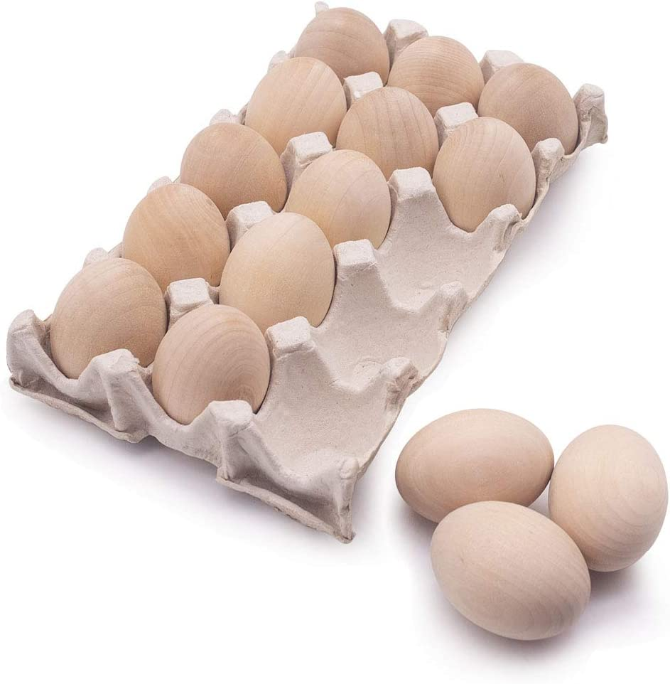 15Pcs Unpainted Wooden Fake Easter Eggs for Children DIY Game,Kitchen Craft Adornment,Toy Foods