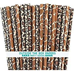 Outside the Box Papers Safari Theme Animal Print Paper Drinking Straws 7.75 Inches 75 Pack Black, Brown, Tan