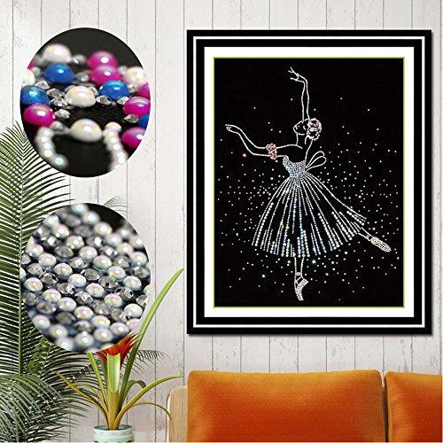 Handser 5D DIY Diamond Painting, Ballet Dancer Round Diamond Drill Painting, Cross Stitch Tool Set Rhinestone Embroidery for Wall Decoration Including Diamond Stitch Pen, Tweezers (Dancer Cross Stitch)