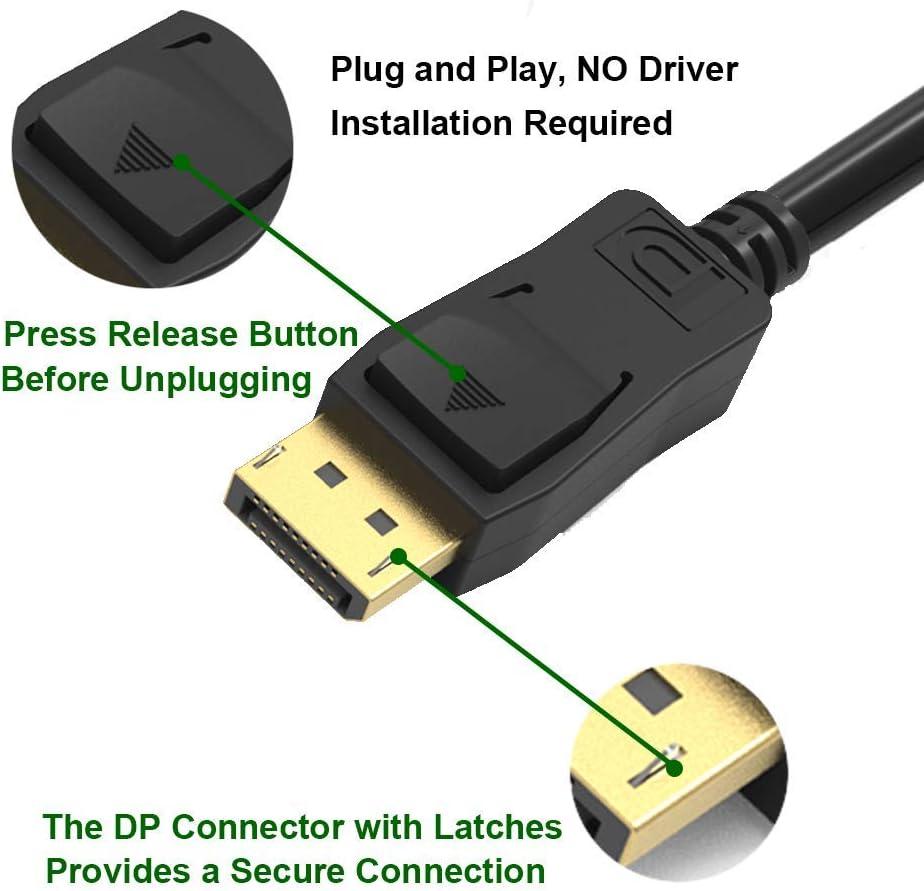 Display Port 1.4 Cable 15 feet 8K 60HZ,VESA Certified DisplayPort Cable 15ft /& HDR HBR3 Support -Gold UKYEE DP to DP 1.4 Cable Cord with 1440P@144Hz, 1080P@240Hz, 4K@120Hz, 8K@60Hz