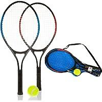 Hillington 2 Player Lightweight Aluminium Kids Tennis Metal Racquet and Ball Set – Garden Outdoor Children Sports Fun Game - With Carry Case