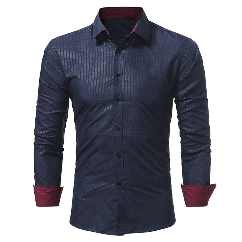 JIAJU-DJ Men Shirt Fashion Solid Color Stripe Male Casual Long Sleeve Shirt